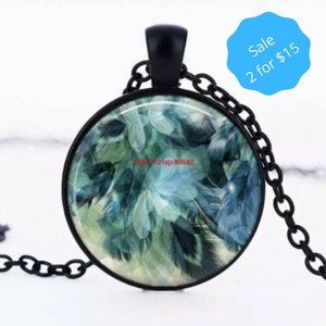 2/$15  Necklace Glass Pendant Blue Feathers NEW